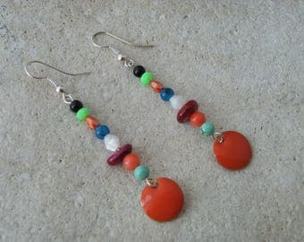 Orange sequin enamel earrings
