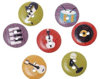 12 buttons 15 mm wooden musical instruments