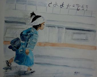 watercolor painting, go to school in Japan, child