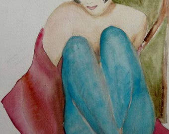 watercolor girl with blue tights