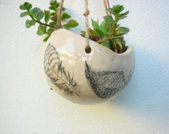 Suspension plant, pot design feather, pottery plant to hang, small ball, white sandstone, garden decoration indoor outdoor, balcony