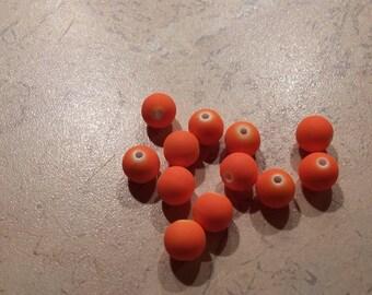 Satin 8mm orange resin beads