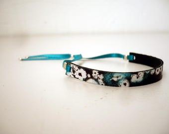 Floral fine leather bracelet