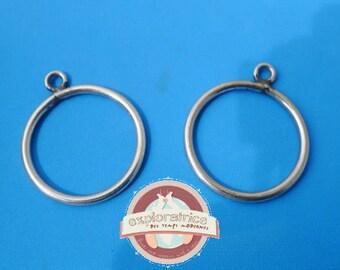 2 pendants connectors rings 25x30mm