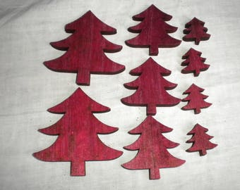 Christmas trees EMBELLISHMENTS wood Garnet 9 pieces 3 Heights