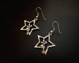 Fairy earrings on a star, antique silver metal
