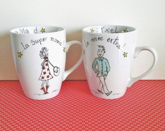 Humorous custom mugs porcelain Duet original, unique cheap Christmas gift, handmade.