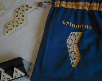 TRIOMINO, storage bag for the game, machine embroidery on canvas colored cotton, fully lined with a color