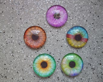 5 illustrated round cabochon 18 mm glass eye