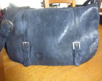 Shiny black leather shoulder bag