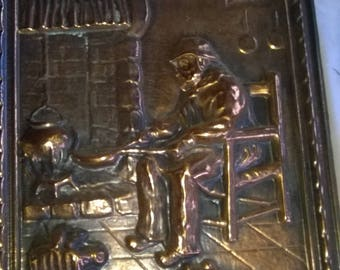 348) genuine repousse copper table