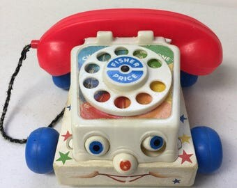 Vintage Fisher Price Pull Toy || 80s Toy Chatter Telephone || 1980's Reto Childs Toy, Vintage Pull Toy