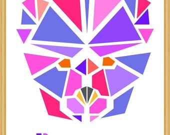 Girl bear personalized origami Scandinavian poster