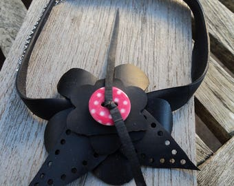 The Choker in inner inner and polka dot - Choker - necklace - vegan leather collar - dog collar flower button