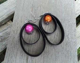 Stud Earrings in recycled air pearls pink and orange inner