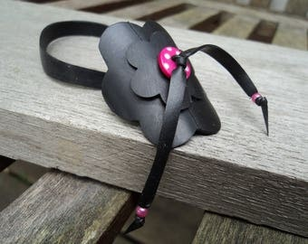 Flowers anklet in inner tube and button pink with white polka dots