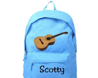 Blue Guitar backpack personalized with name