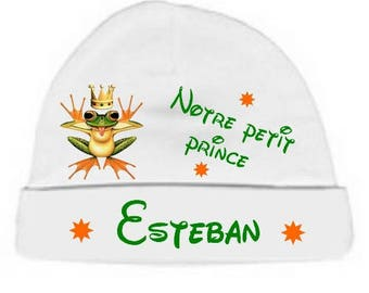 Our little prince personalized with name White baby bonnet