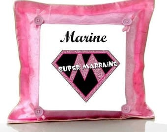 Cushion Pink Supermarraine personalized with name