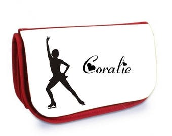 Cosmetic case red /crayons skating personalized with name