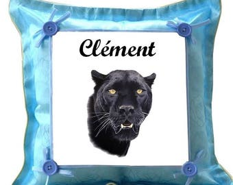Blue Black Panther custom cushion with name