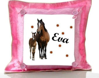 Cushion Pink horses personalized with name