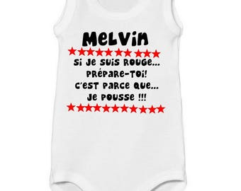 Onesie tank top so I am red... personalized with name