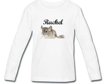 Girl long sleeve personalized with name Chinchilla t-shirt
