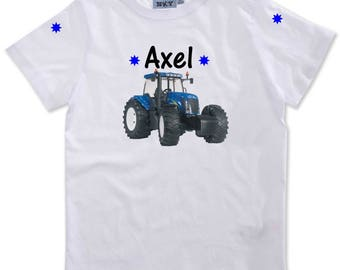 Boy blue tractor personalized with name t-shirt