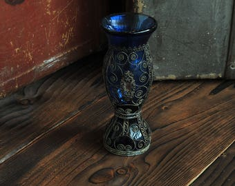Antique Cobalt Glass.Victorian Cobalt Vase.Hand Made Cobalt Blue Vase with ornaments of 1900s