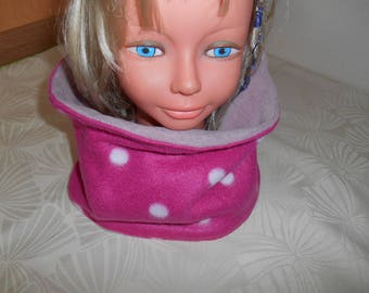 snood girl all fleece pink polka dots white and old pink