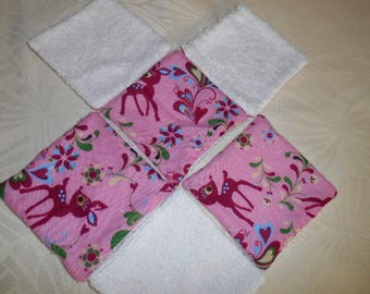6 wipes bamboo - cotton - pink Fawn pattern