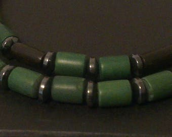 Duo of bracelets made of boxwood, ebony black and Green Tiger