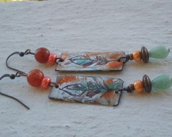 Sketches of glass and gemstones - enameled copper - feathers