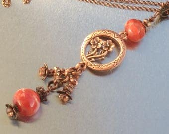 Pendant - Necklace: Red coral copper - handmade Lampwork Glass.