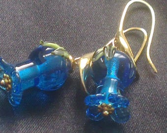 Lily of the Valley blue transparent glass beads on earrings