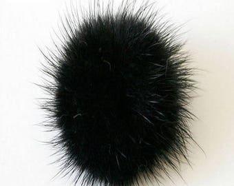 10 tassels black soft natural fur 25 30 mm