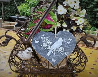 Slate heart with bird motif
