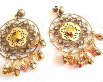 Earrings bronze and gold Bohemian.