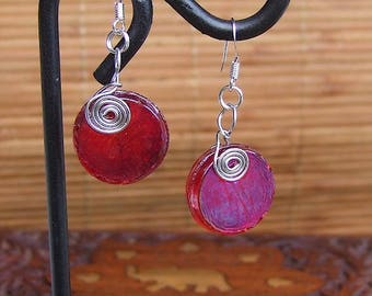 Venice color red fused glass earrings