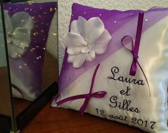 ring pillow - purple and white wedding with Orchid and rhinestones