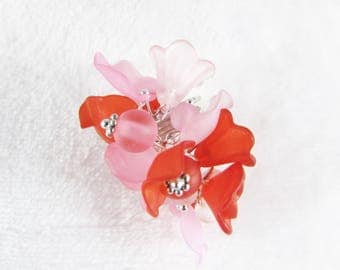 Ring multi charms frosted - colors pink and Red - B5A001