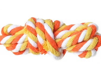 5mm - 1 m of twisted cotton rope, Orange, yellow and white