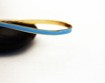 LEATHER effect cord double sided sky blue / gold