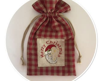 Red gingham linen pouch and string with embroidery Santa Claus Moon