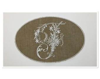 """VICTORIAN MONOGRAM LETTER """"F"""" EMBROIDERED ON LINEN"""
