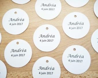 Mariage & Baptême - Lot 20 Etiquettes / marques places forme ronde - papeterie - plan de table - décoration de table - contenants à dragées