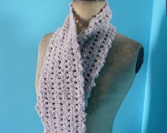 crocheted gray scarf