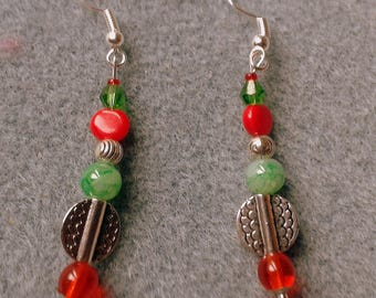 Merry Xmas red, green and Silver earrings