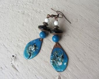 Earrings drop dangle ethnic charm enamelled copper, Czech glass, Howlite stone bead, blue, black and white